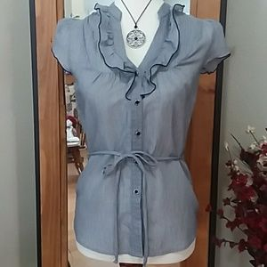 Navy Pinstriped Blouse